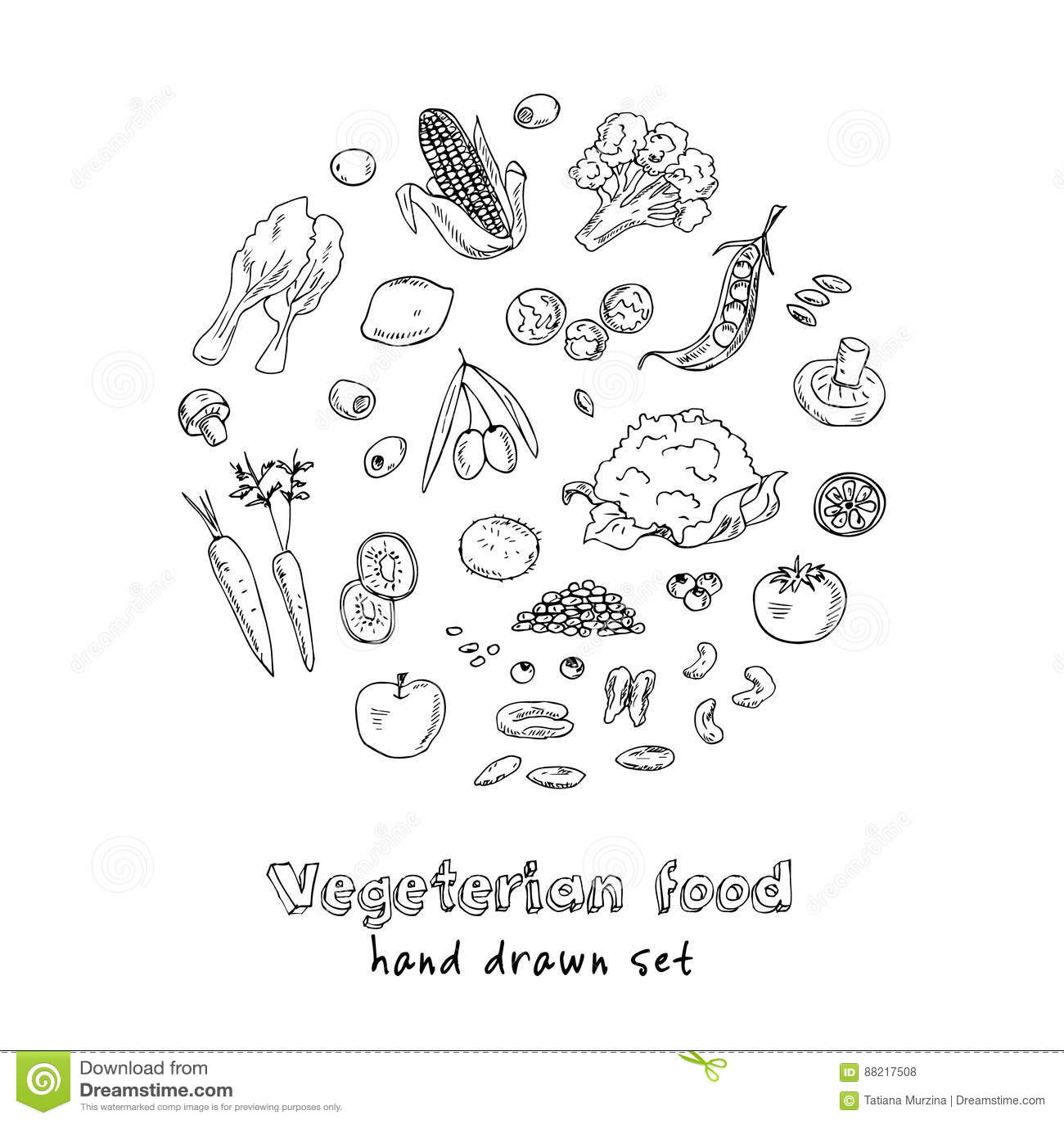 Vector Hand Drawn Set Of Vegeterian Food. Vegetables