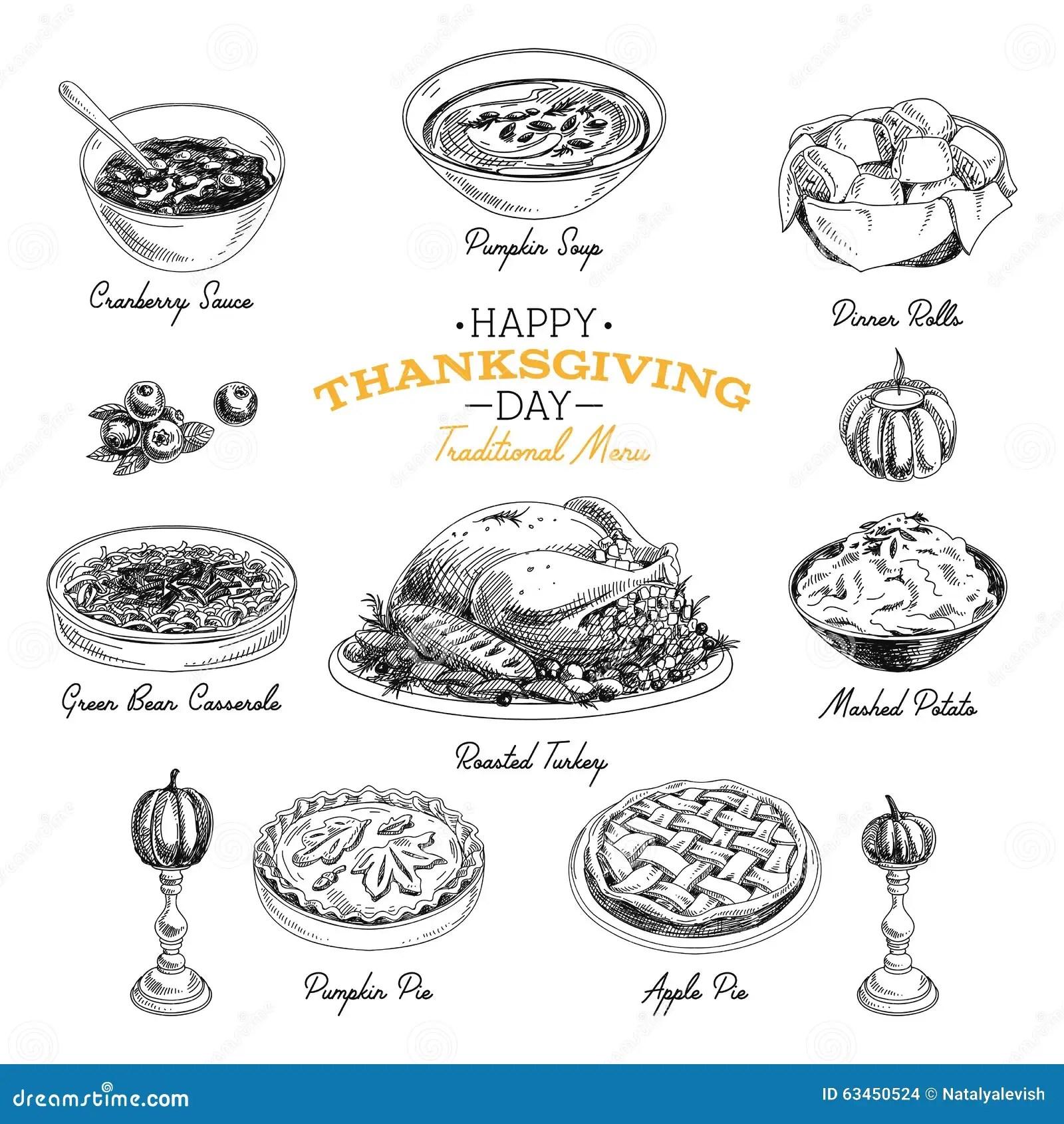 Vector Hand Drawn Thanksgiving Food Set Stock Vector