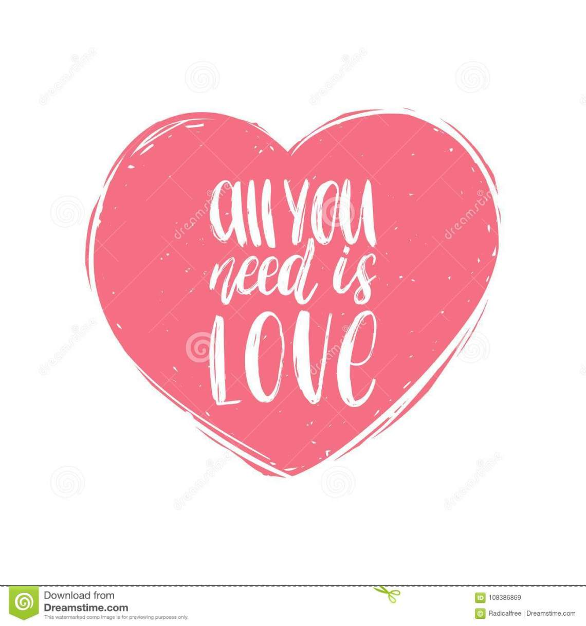 Download Vector Hand Lettering Phrase All You Need Is Love ...