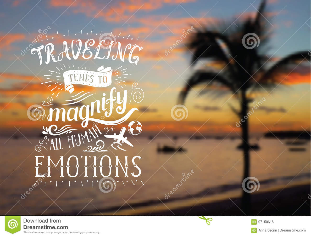https www dreamstime com stock illustration vector hand lettering quote exotic background poster sunrise beach palm tree travel banner marine landscape image97150616