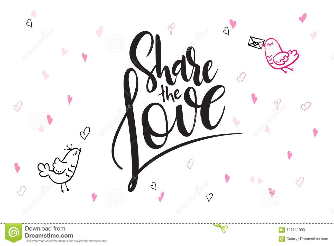 Vector Hand Lettering Valentine S Day Greetings Text