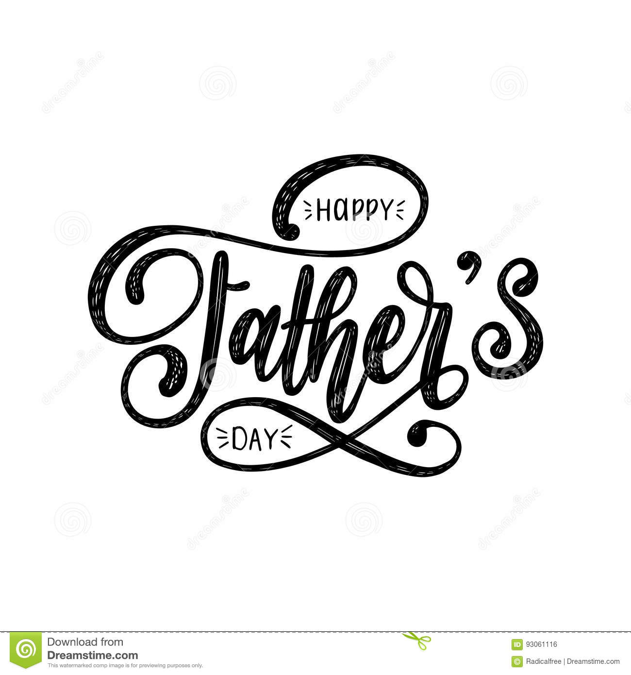 Vector Happy Fathers Day Calligraphic Inscription For