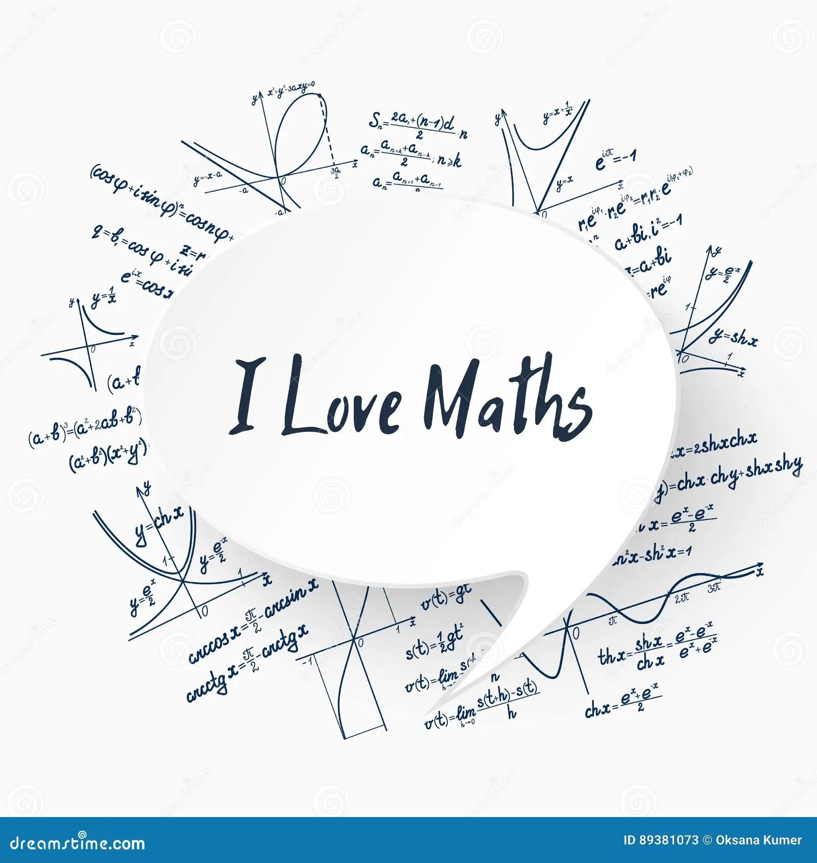 Vector I Love Maths Background Stock Vector