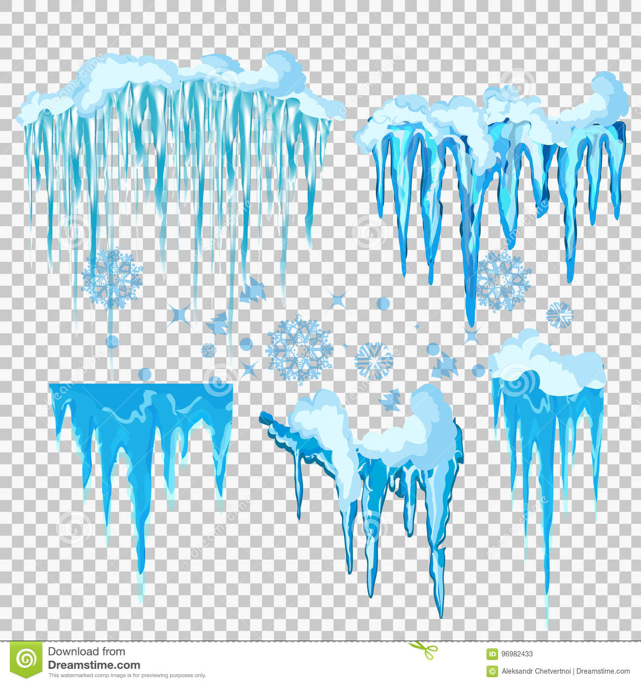 hight resolution of vector icicle and snow elements clipart different snow cap