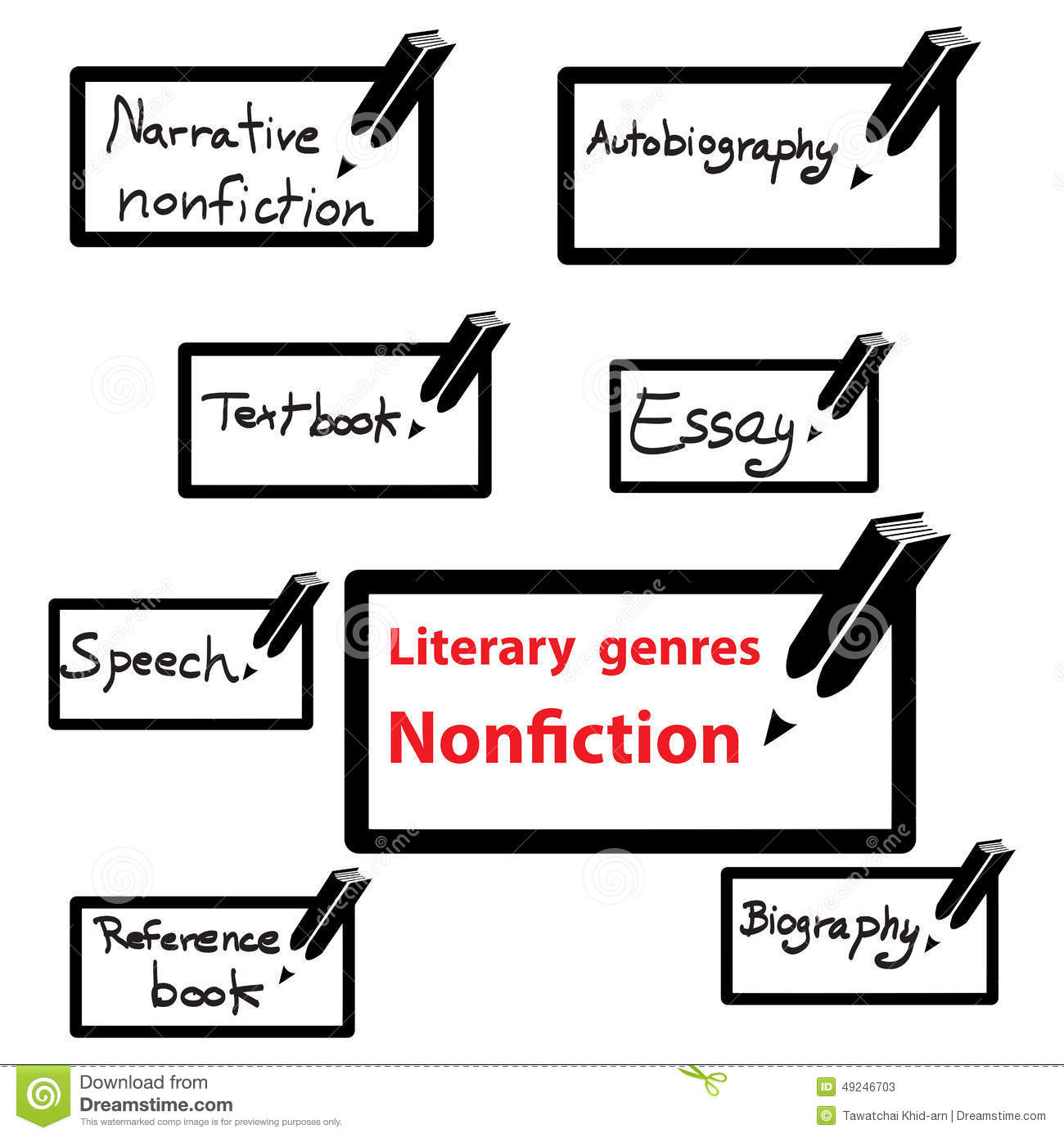 Set Of Literary Genres Flat Line Icons Vector Illustration