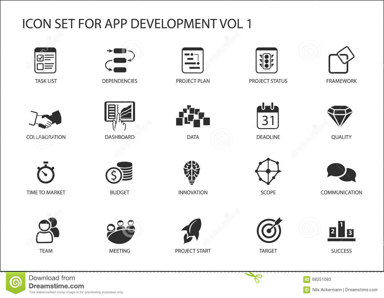 Vector Icon Set For App Application Development