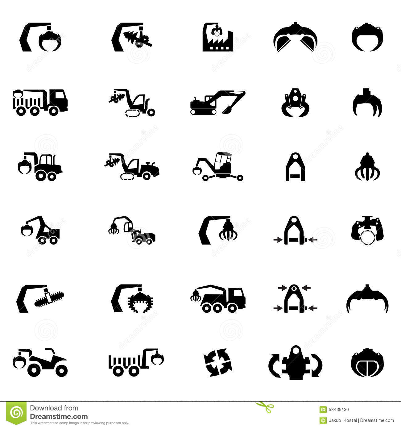 Vector Icon Set Of Heavy Machine Tractor And Vehicles