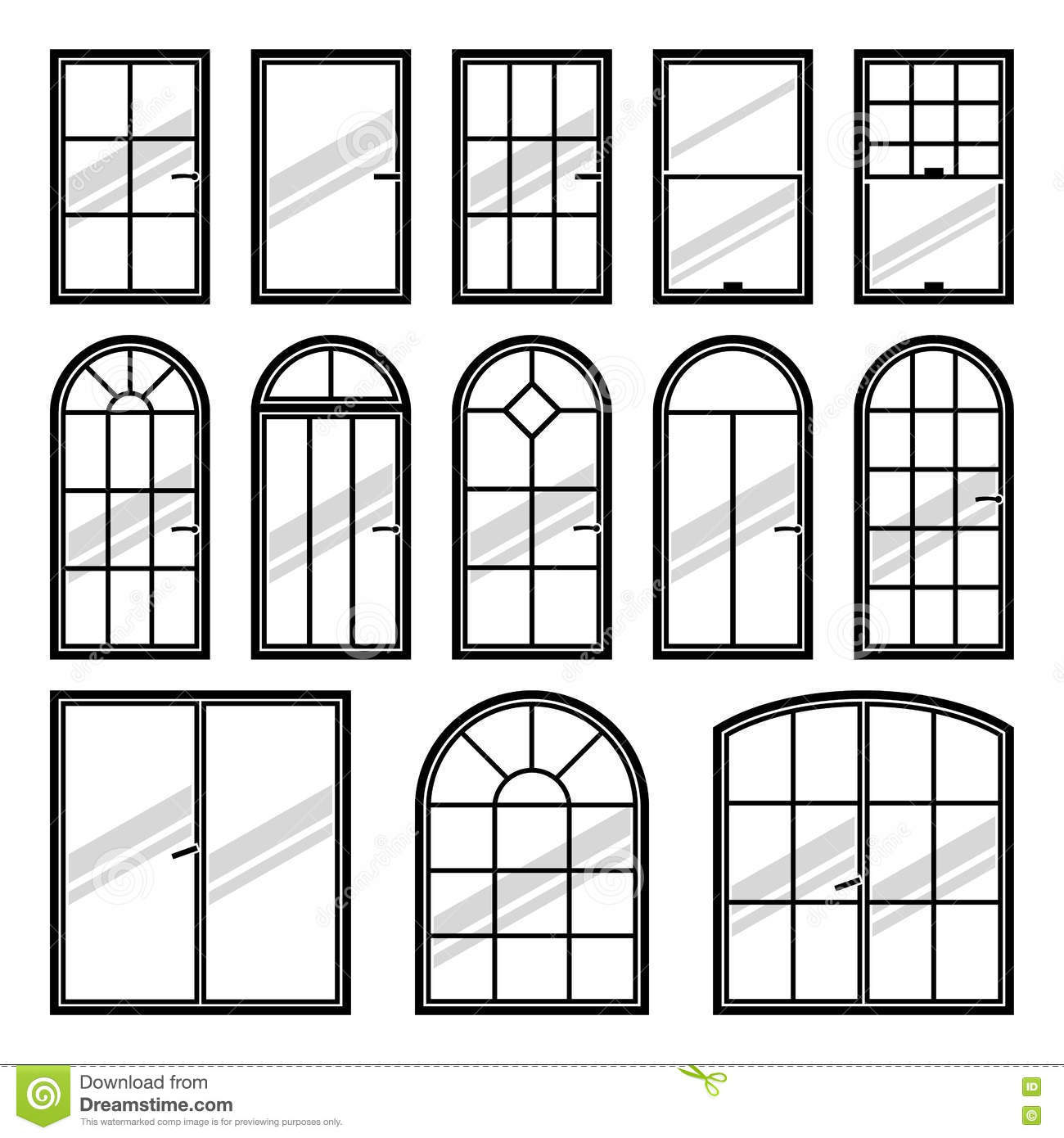 Vector Icons Set Of Different Types Of Windows Stock