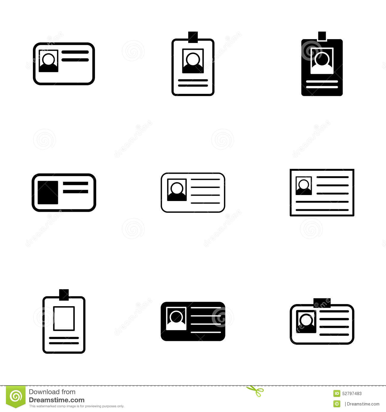 Vector Id Card Icon Set Stock Vector Illustration Of Icon