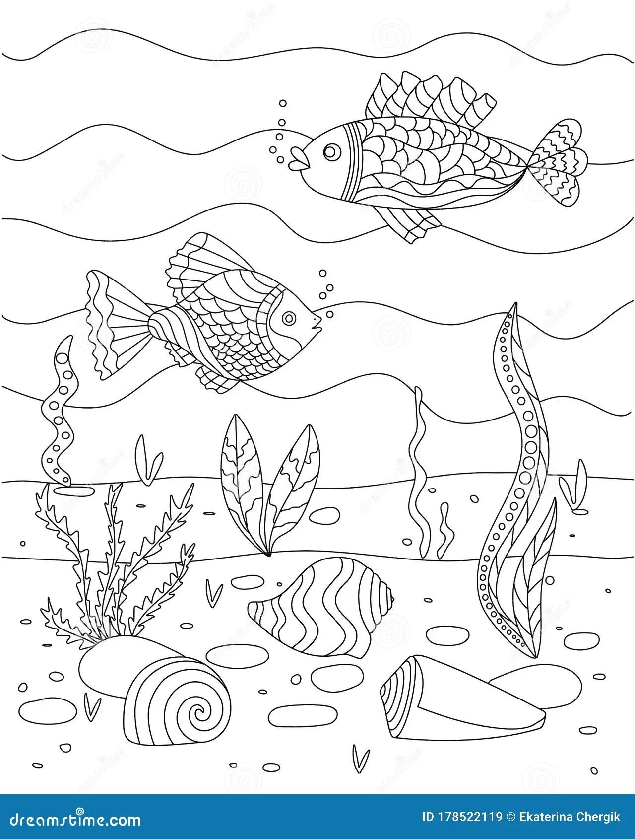 Sea Floor Drawing : floor, drawing, Vector, Illustration, Algae,, Shell, Fish,, Floor., Coloring, Children., Simple, Funny, Kid`s, Drawing., Stock, Marine,, Aquarium:, 178522119