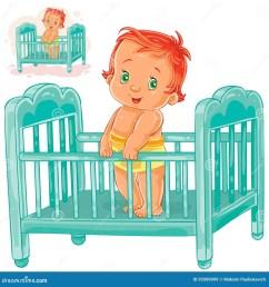 vector illustration baby is in his cot  [ 1300 x 1390 Pixel ]