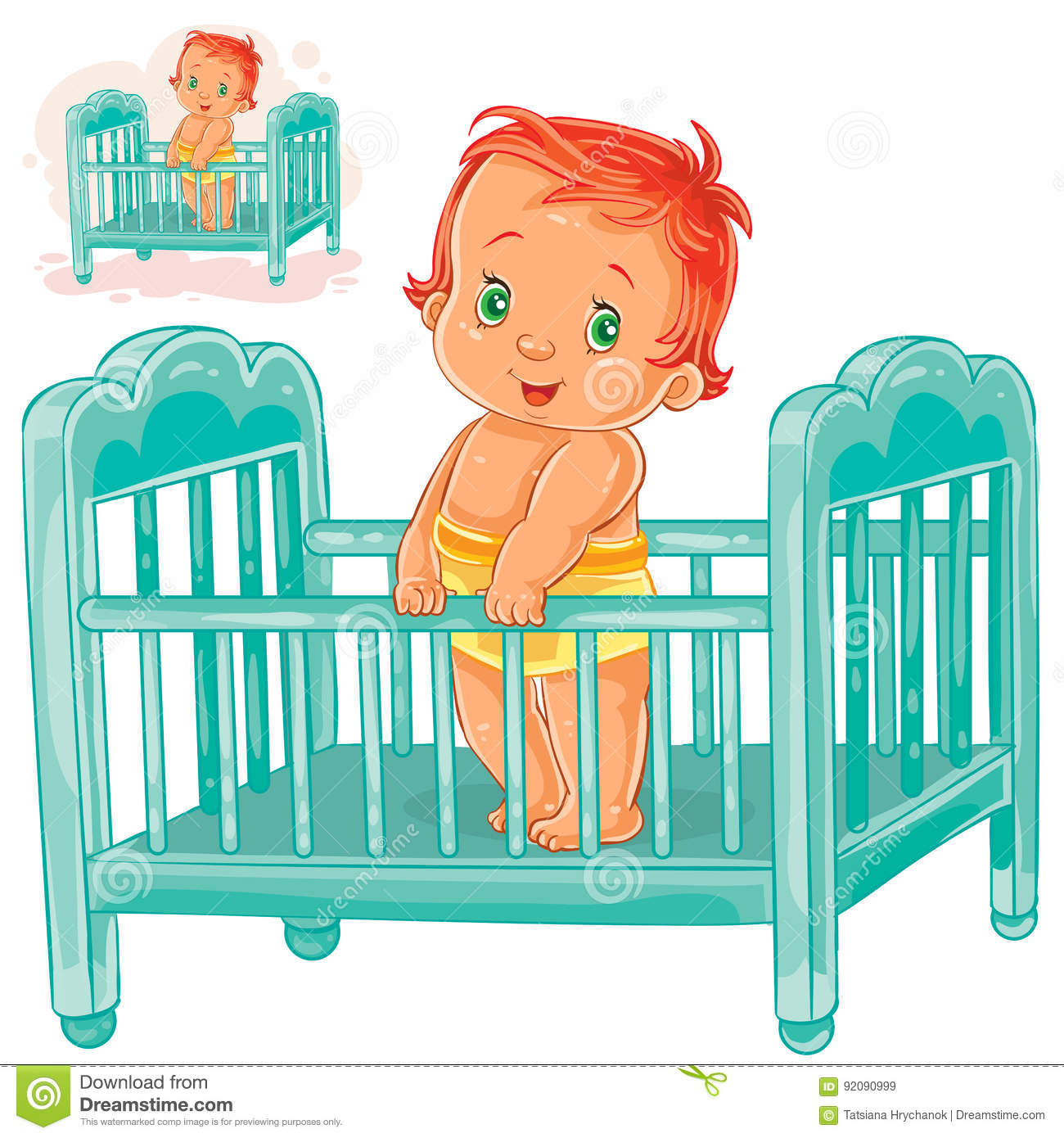 hight resolution of vector illustration baby is in his cot