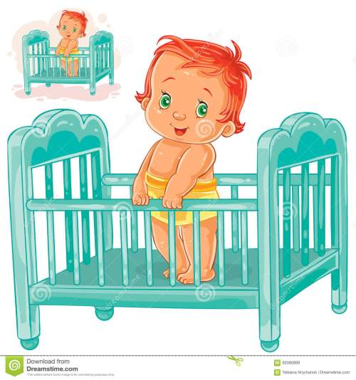 small resolution of vector illustration baby is in his cot