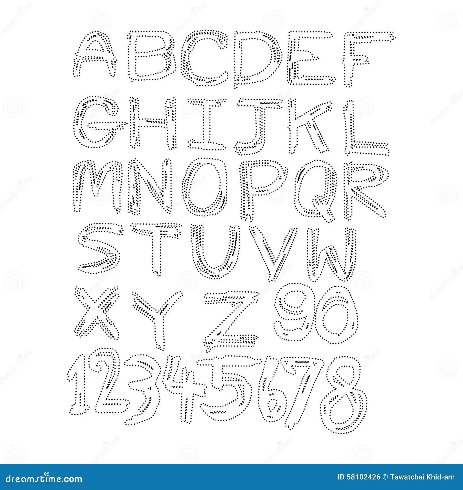 Vector Illustration Black Polka Dot Spotted Alphabet