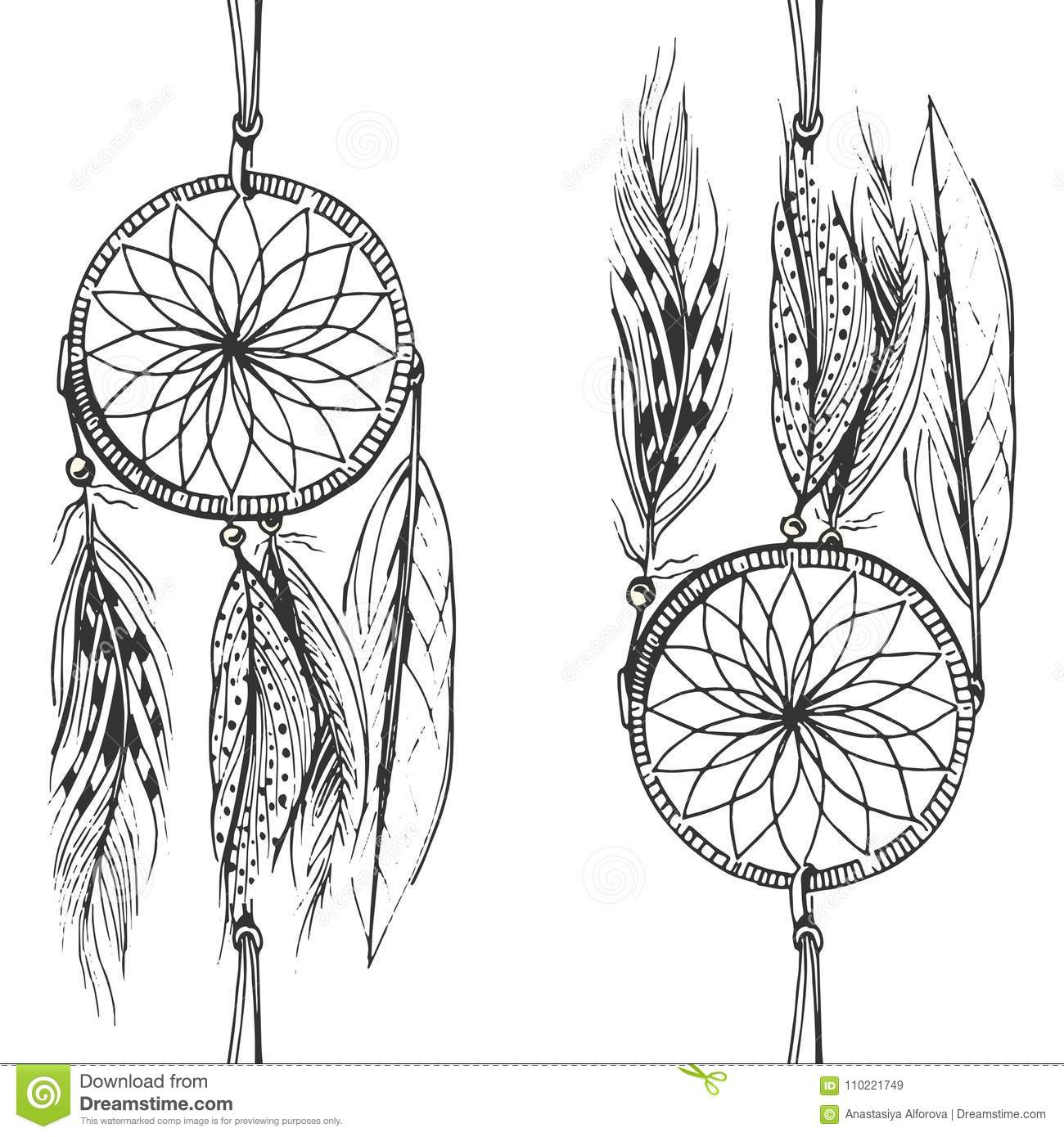 Dreamcatcher pattern stock vector. Illustration of feather