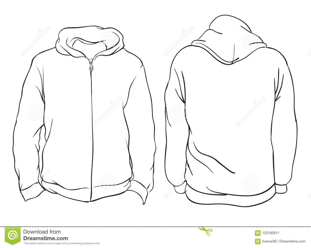 Vector Illustration Blank Hoojacket Front And Back