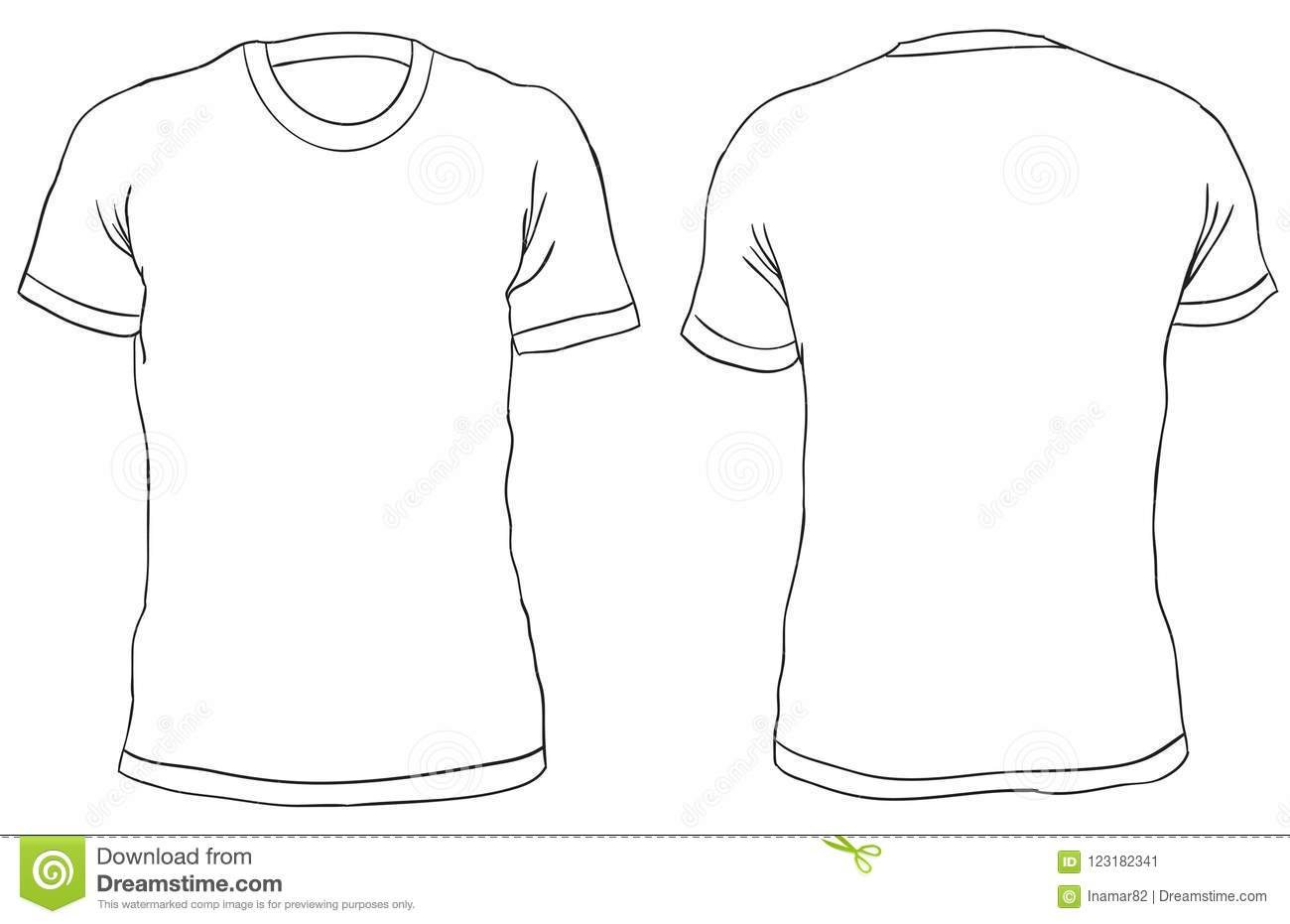 Vector Illustration Blank T Shirt Front And Back Views