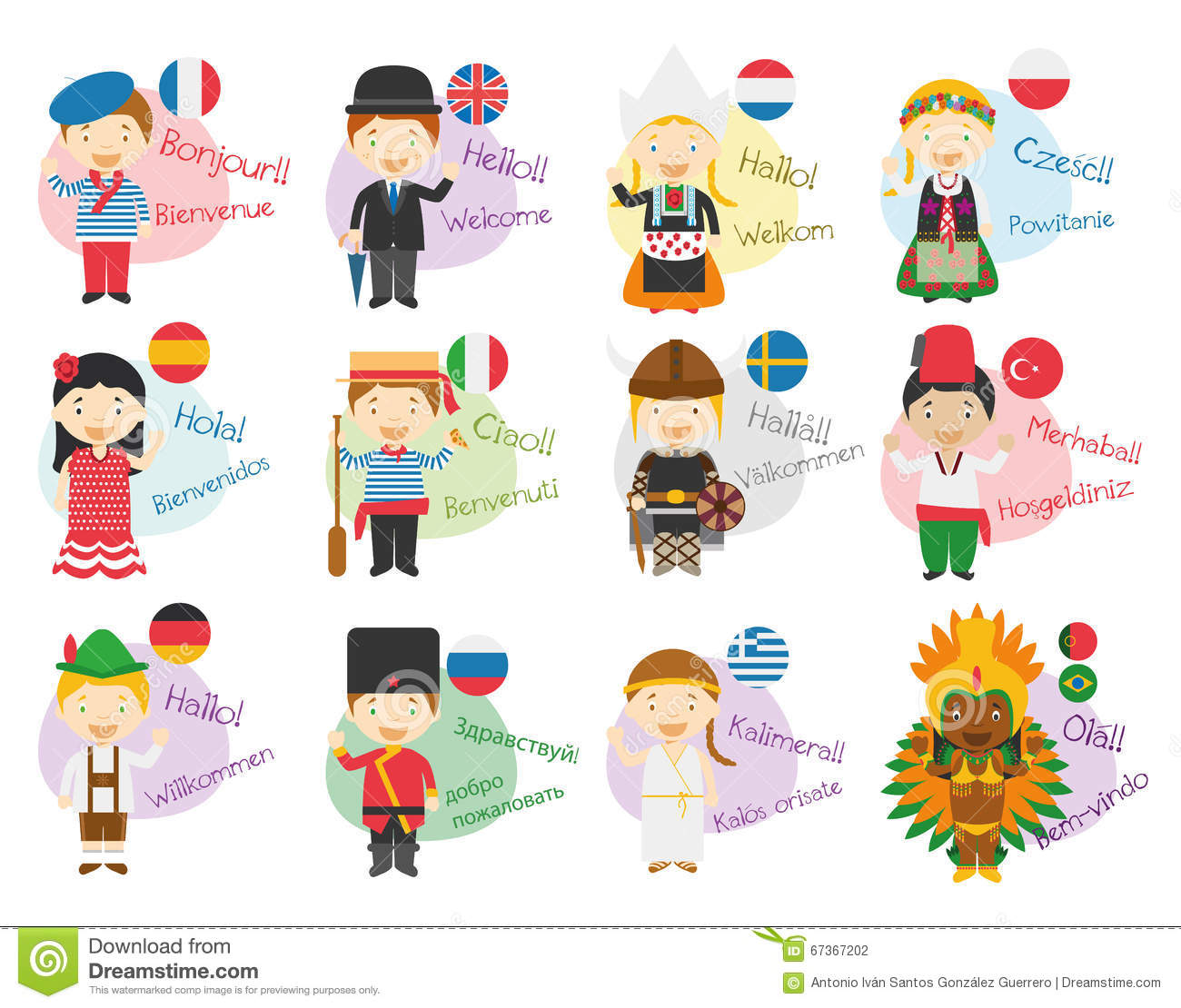 Vector Illustration Of Cartoon Characters Saying Hello And