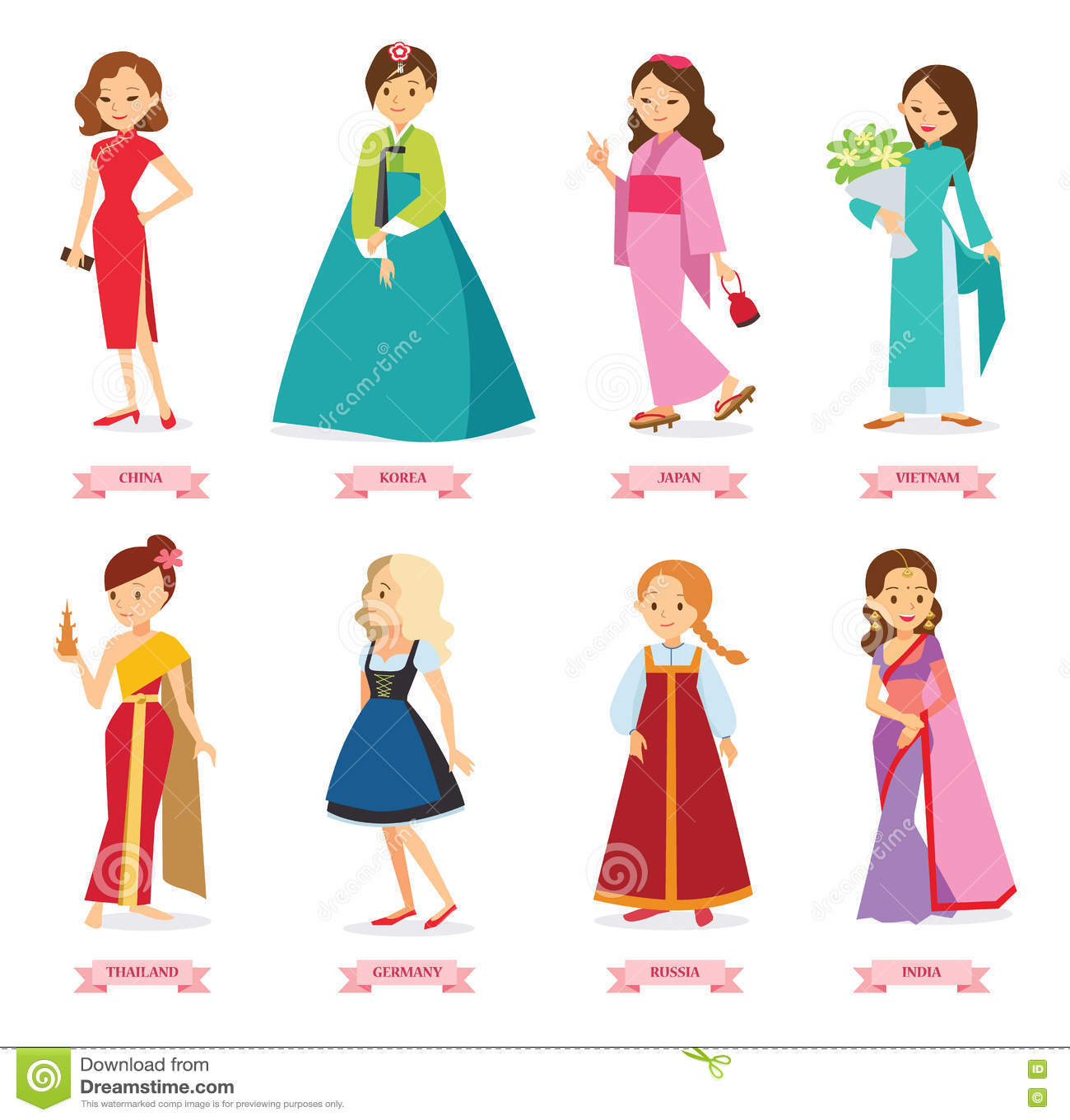 Vector Illustration Cartoon Girls In The World S
