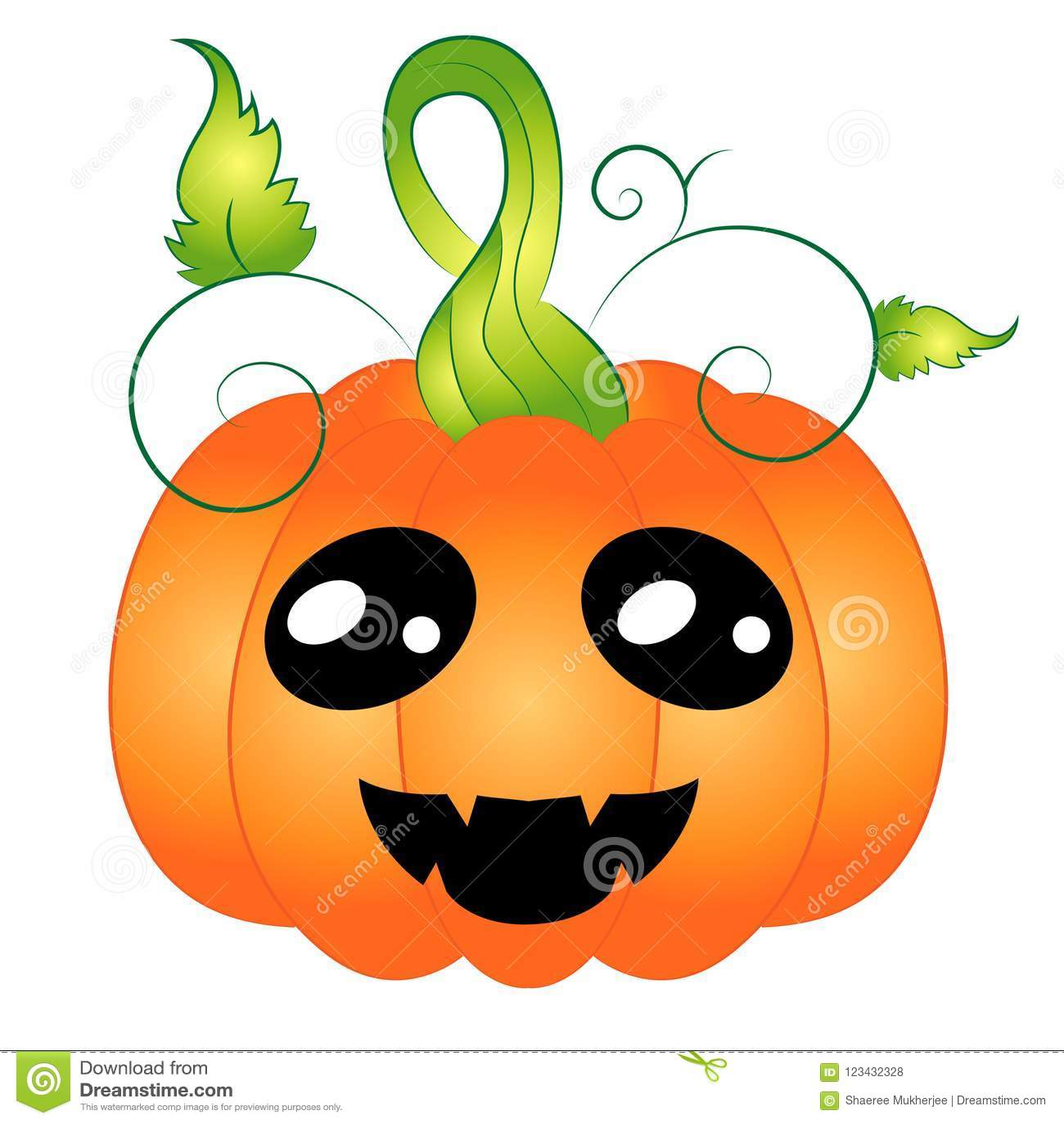 cartoon chibi halloween pumpkin