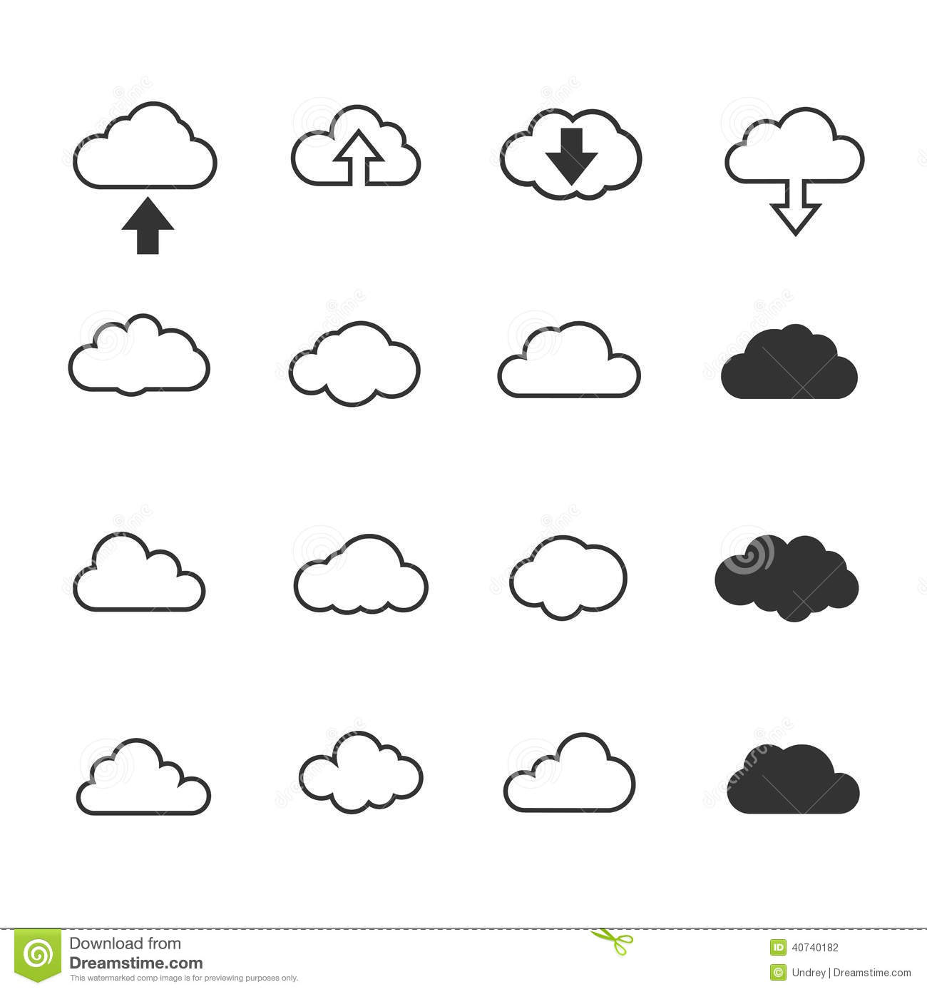 Vector Illustration, Clouds Collection Set. Concept
