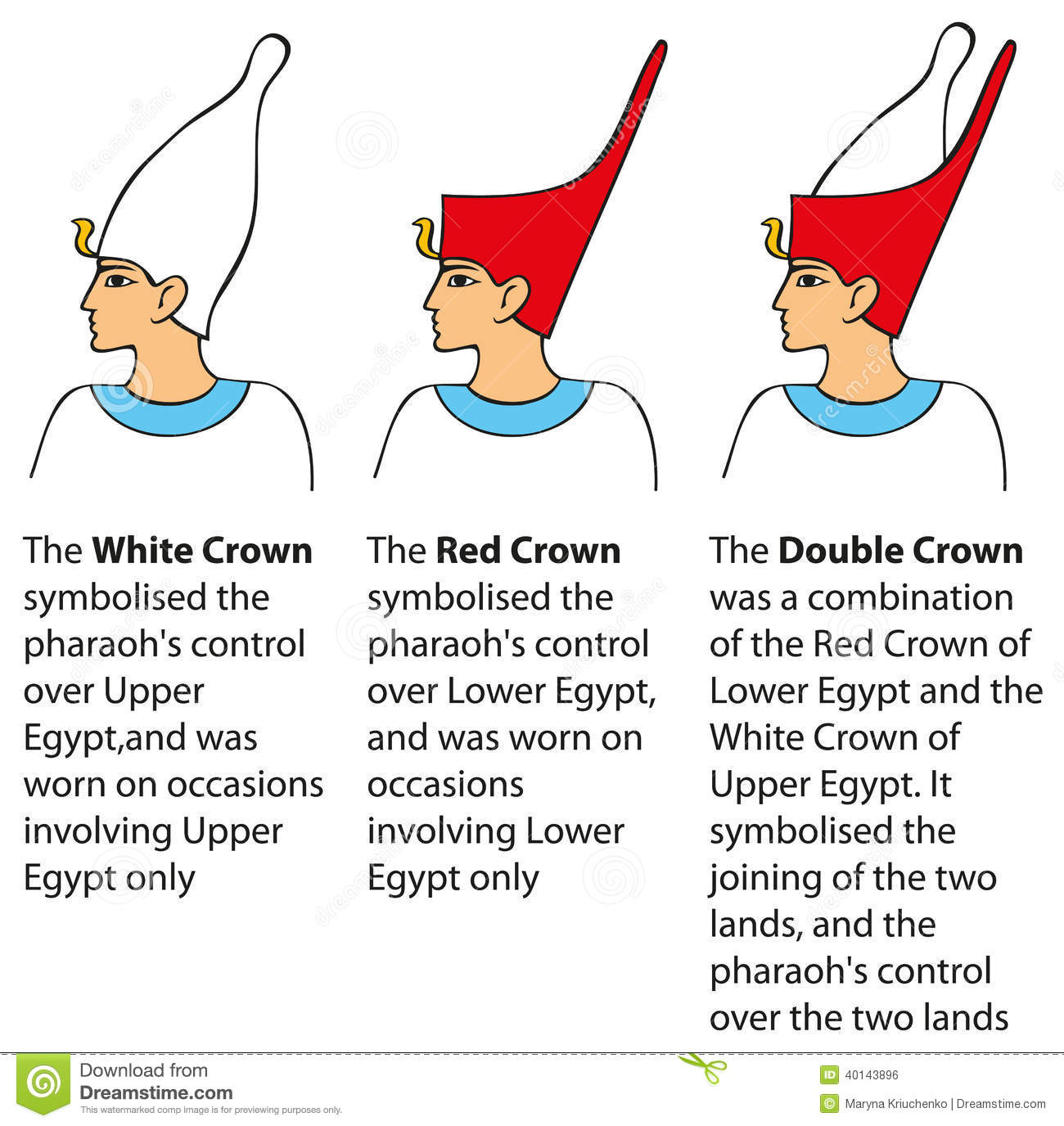 Vector Illustration Crown Worn By Pharaohs Different
