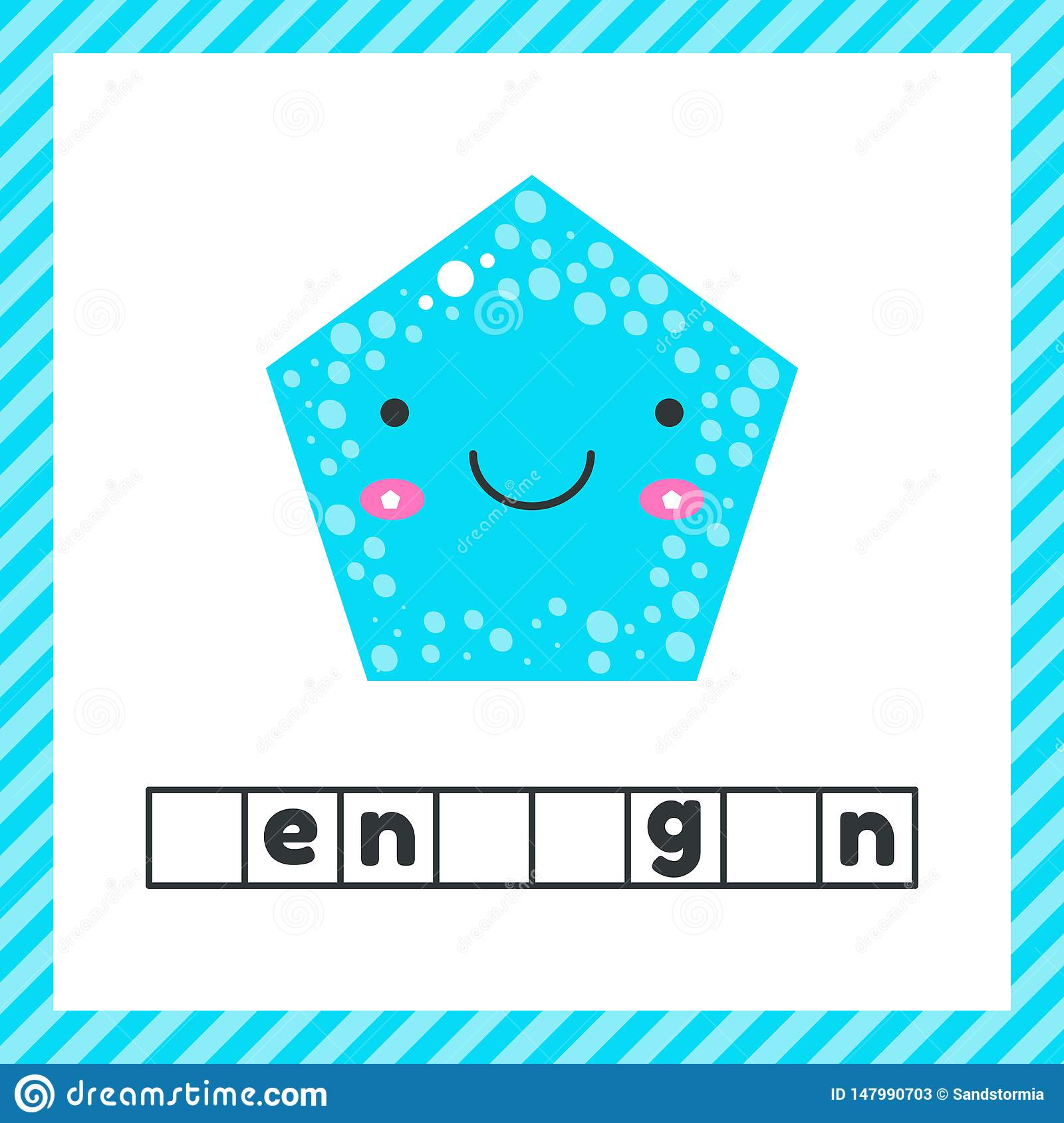 Cute Geometric Figures For Kids Blue Shape Pentagon