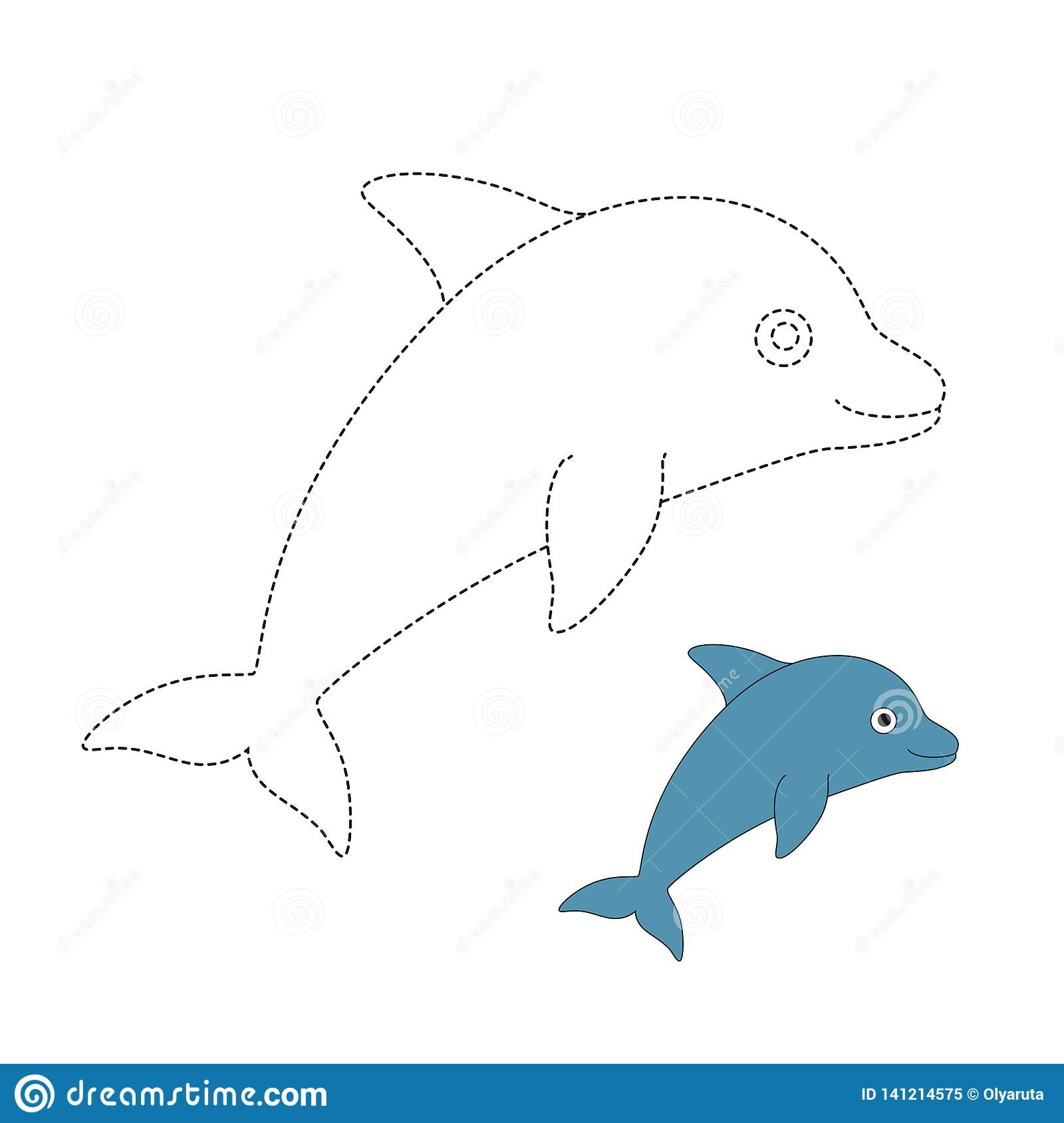 Vector Illustration Of Dolphin For Coloring Book Stock