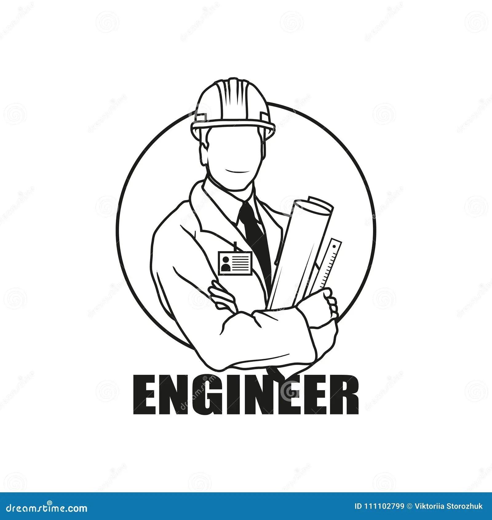 Vector Illustration Engineer Man Engineer Man Logo Stock