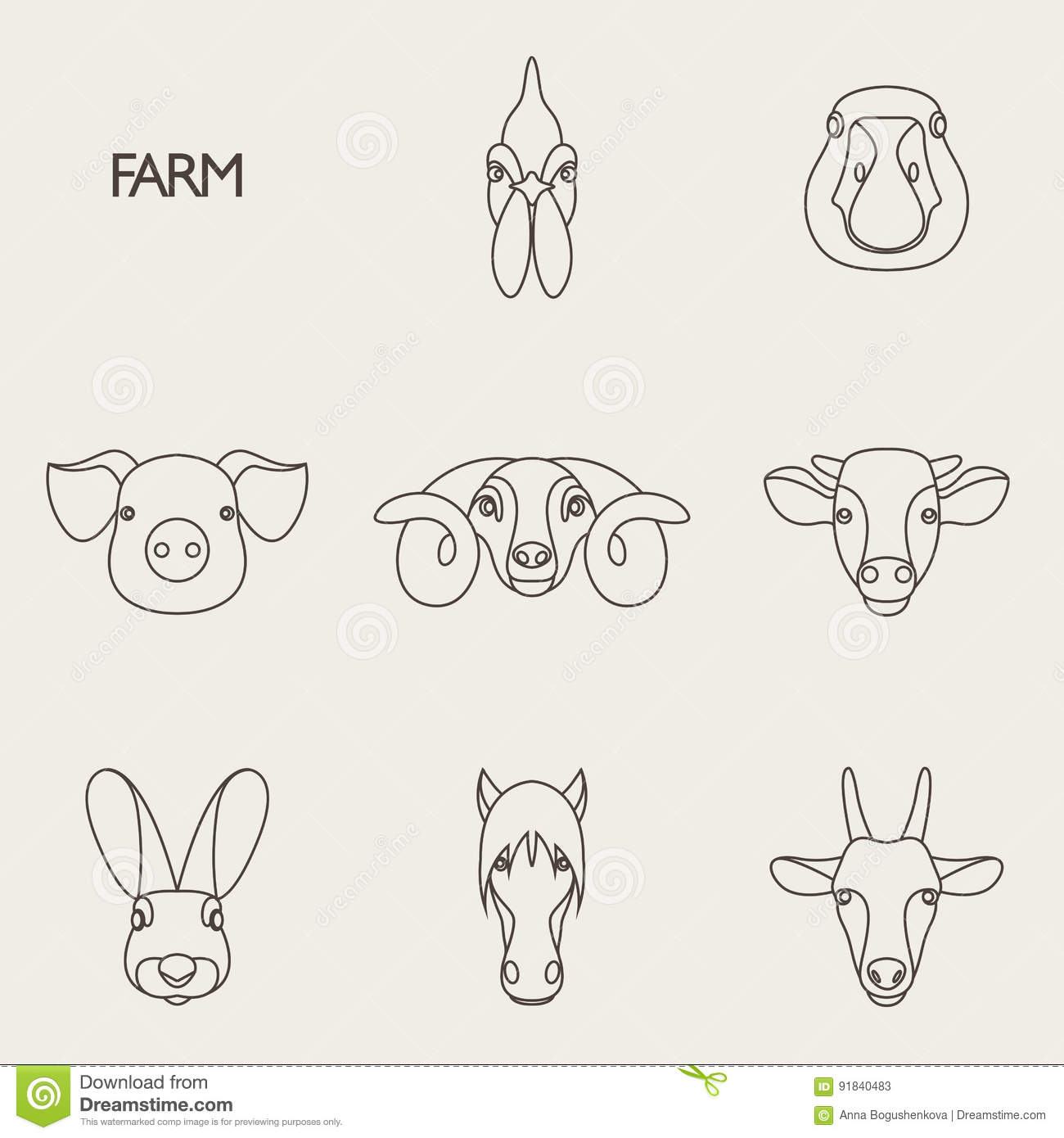 Vector Illustration Of Farm Animals With Sample Text Stock