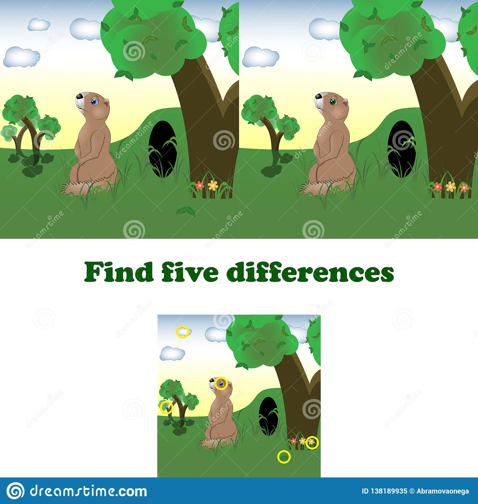 Find Differences Game For Children Chameleon Cartoon Vector