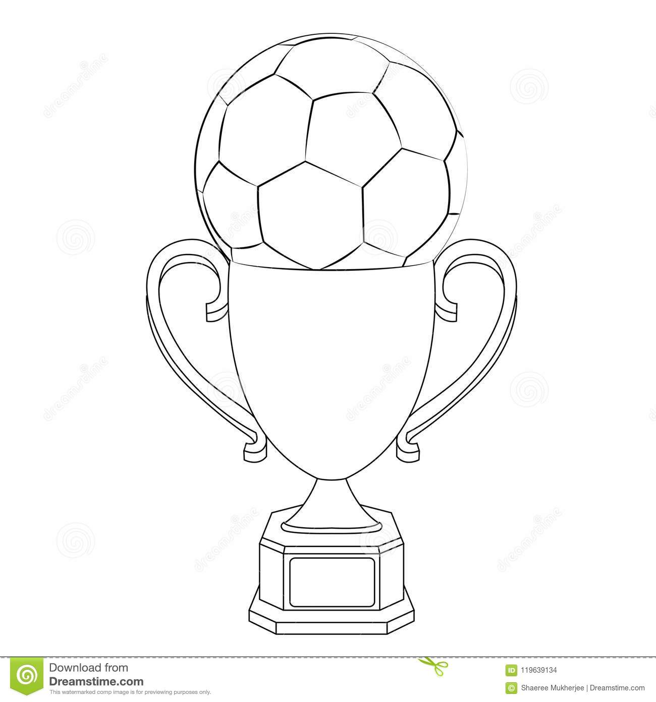 Vector Illustration Football With Trophy Coloring Page