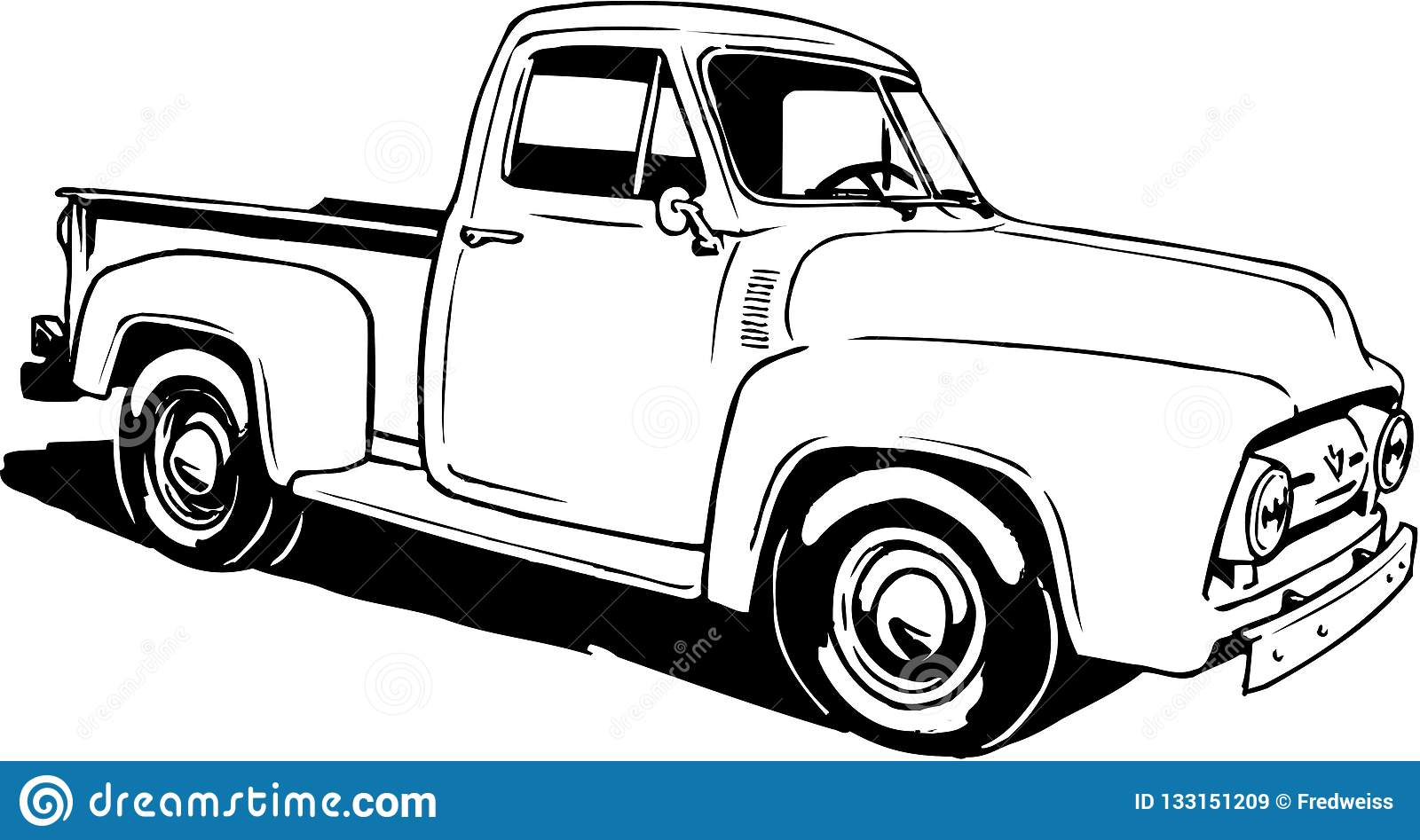 hight resolution of a vector illustration of a 1953 ford pickup