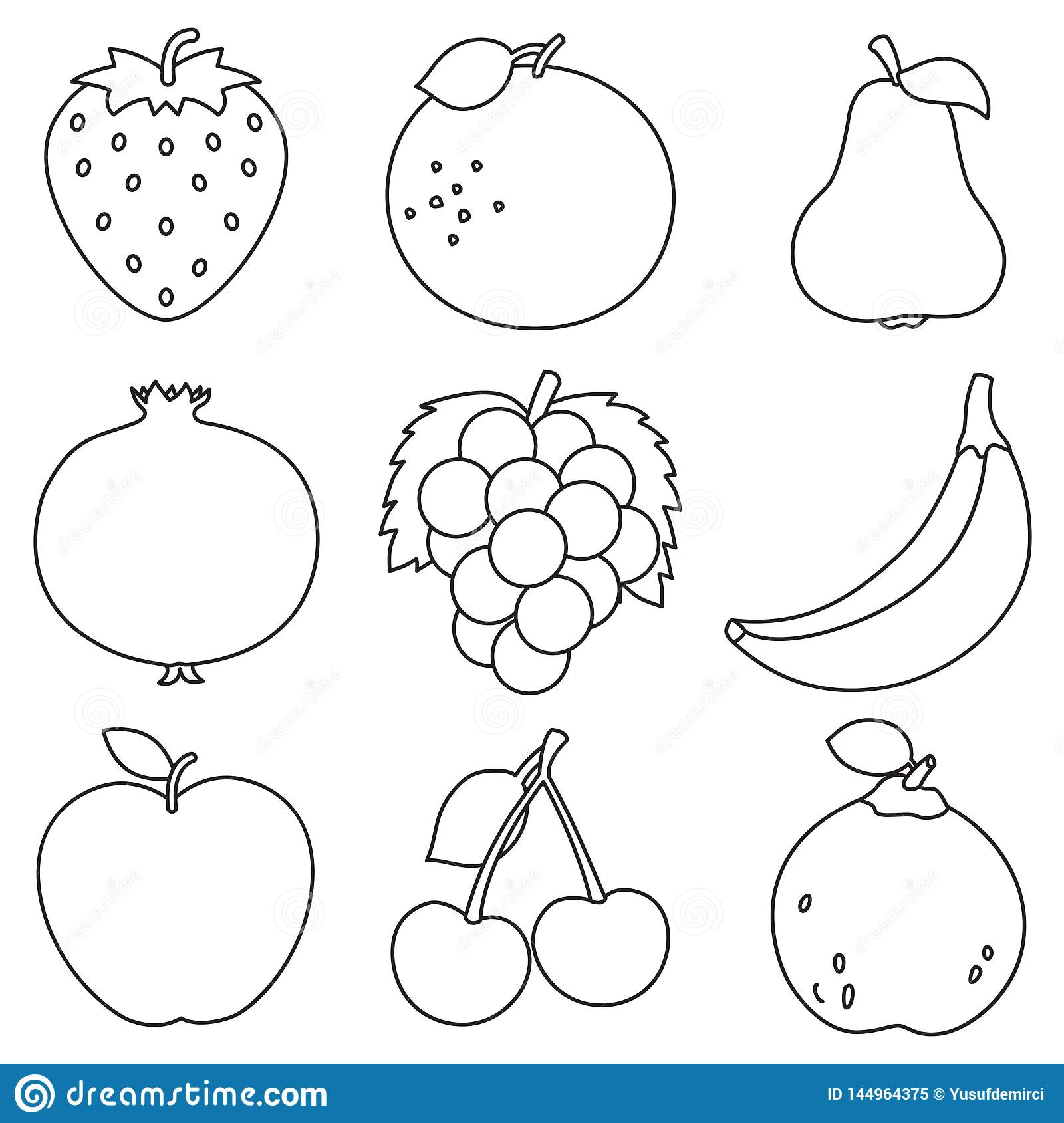 Vector Illustration Of Fruits Coloring Page Stock