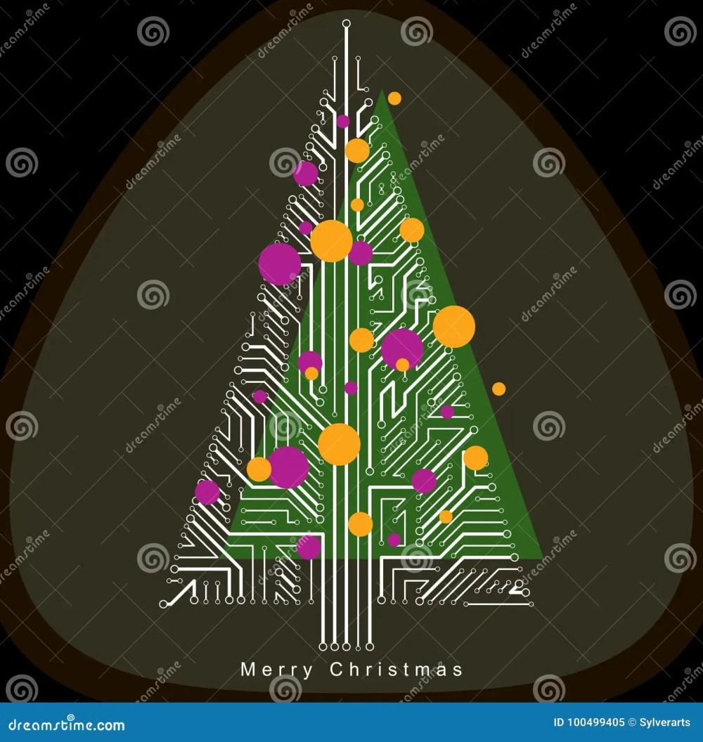medium resolution of vector illustration of futuristic evergreen christmas tree tech