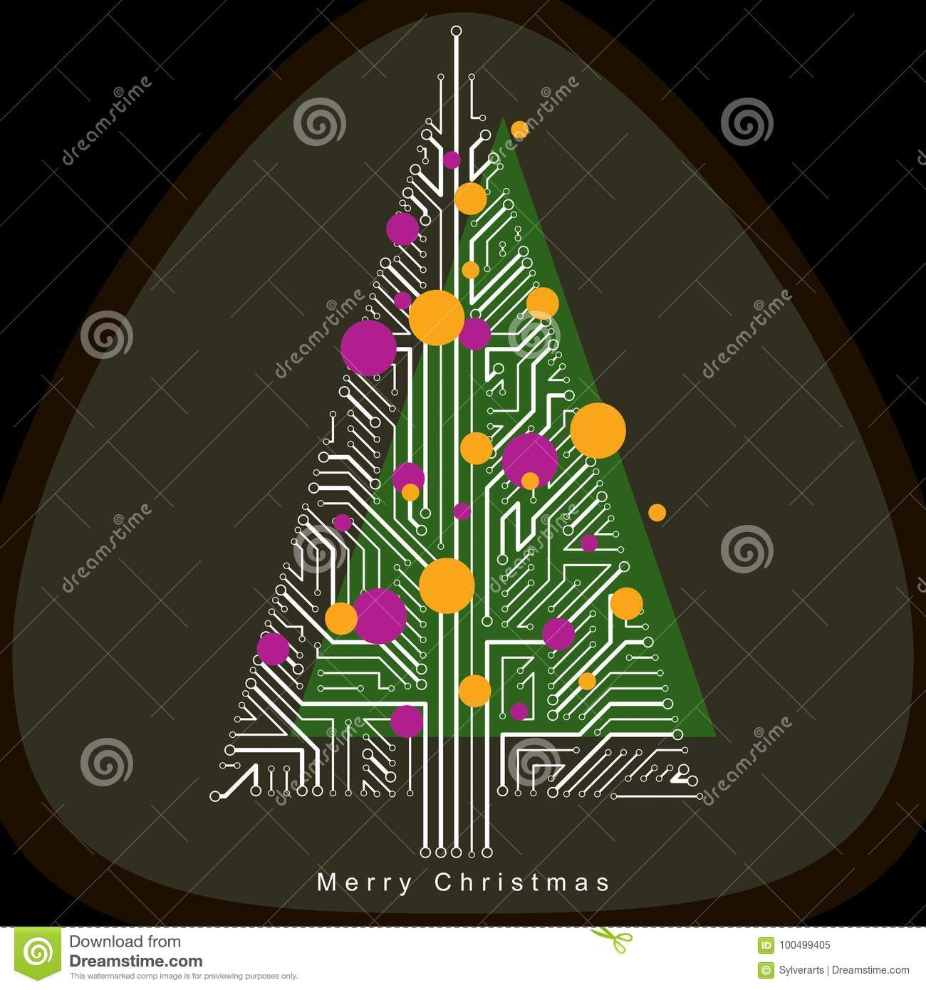 hight resolution of vector illustration of futuristic evergreen christmas tree tech