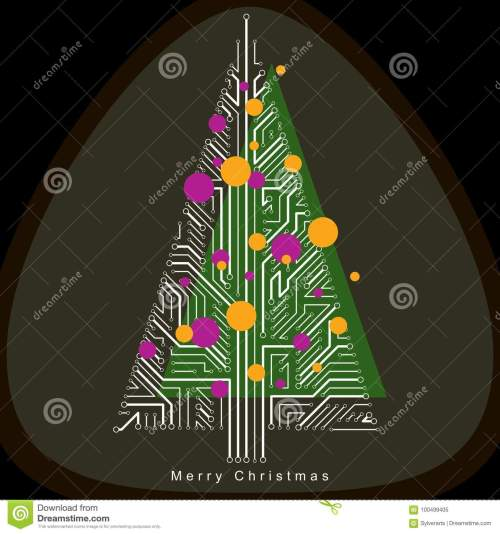 small resolution of vector illustration of futuristic evergreen christmas tree tech