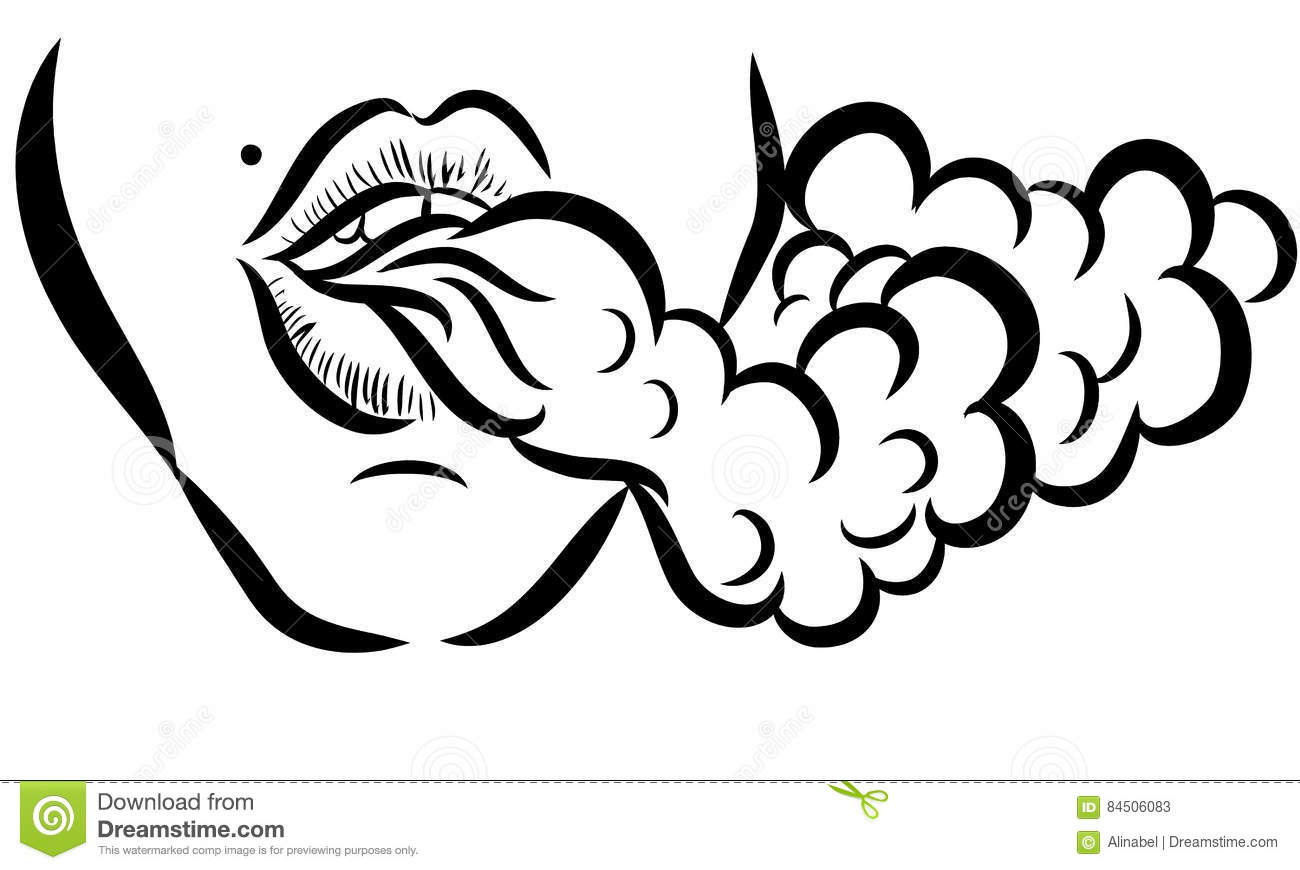 Vector Illustration With Girl And Smoke Stock Vector