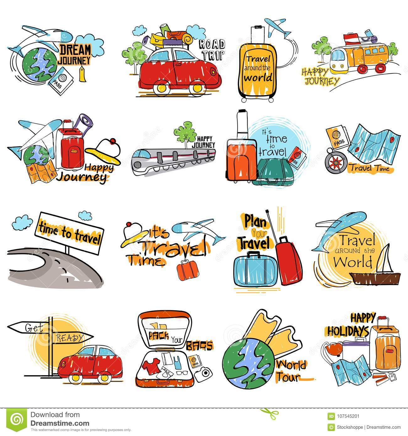 Holiday And Travel Vacation Label Tag Sticker For Advertisement Stock Vector Illustration Of Happy Hotel 107545201