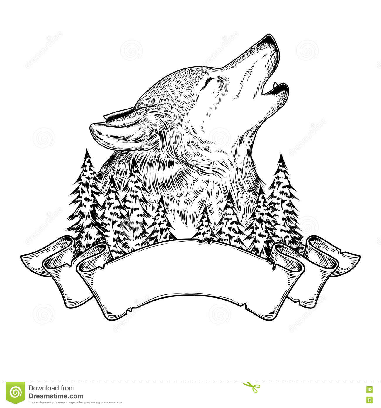 Vector Illustration Of A Howling Wolf With Ribbon Cartoon