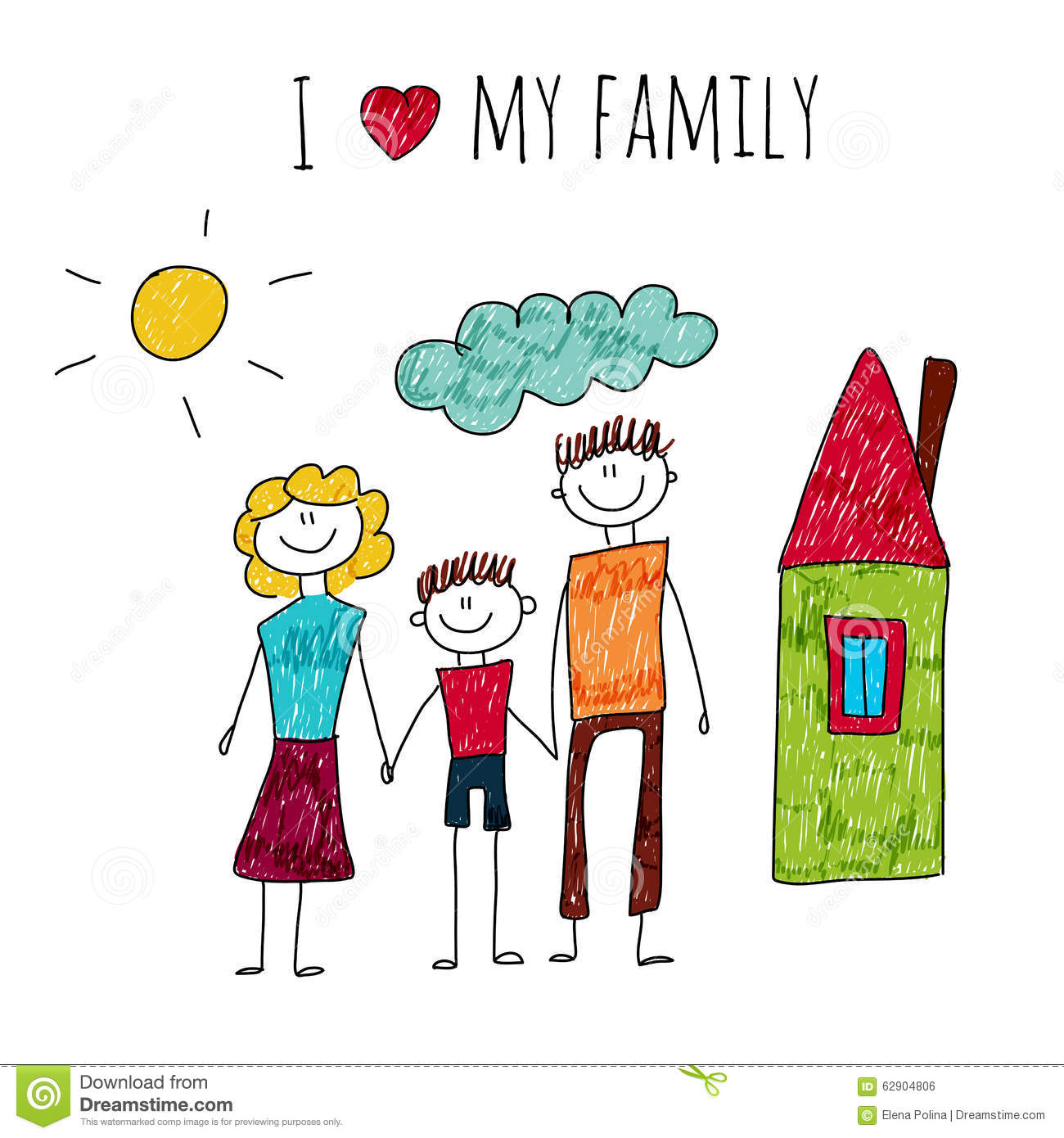 Vector Illustration I Love My Family Stock Vector