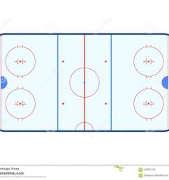 vector illustration of ice hockey rink top view isolated on white background  [ 1300 x 1090 Pixel ]