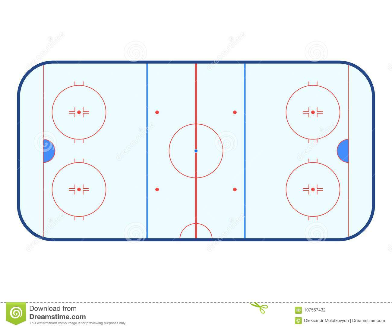 hight resolution of vector illustration of ice hockey rink top view isolated on white background