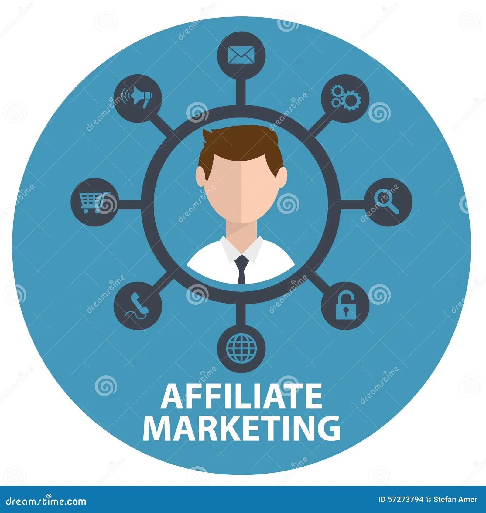 Vector Illustration Icon Of Affiliate Marketing In Circle Stock Vector - Illustration of internet. element: 57273794