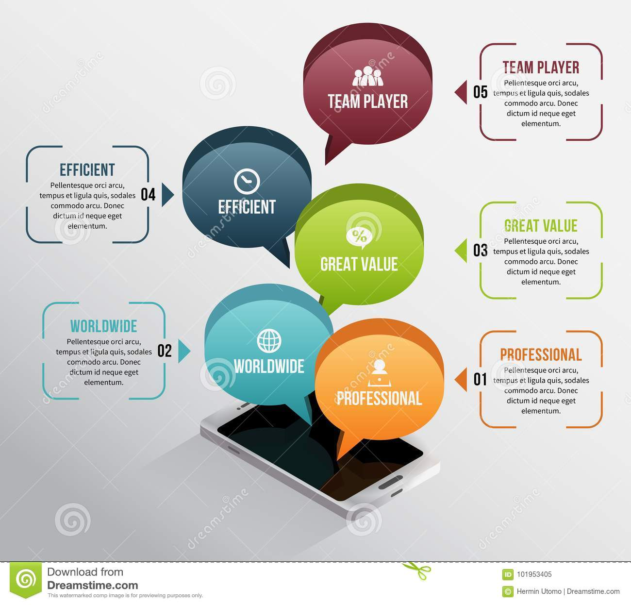 hight resolution of isometric phone talk infographic