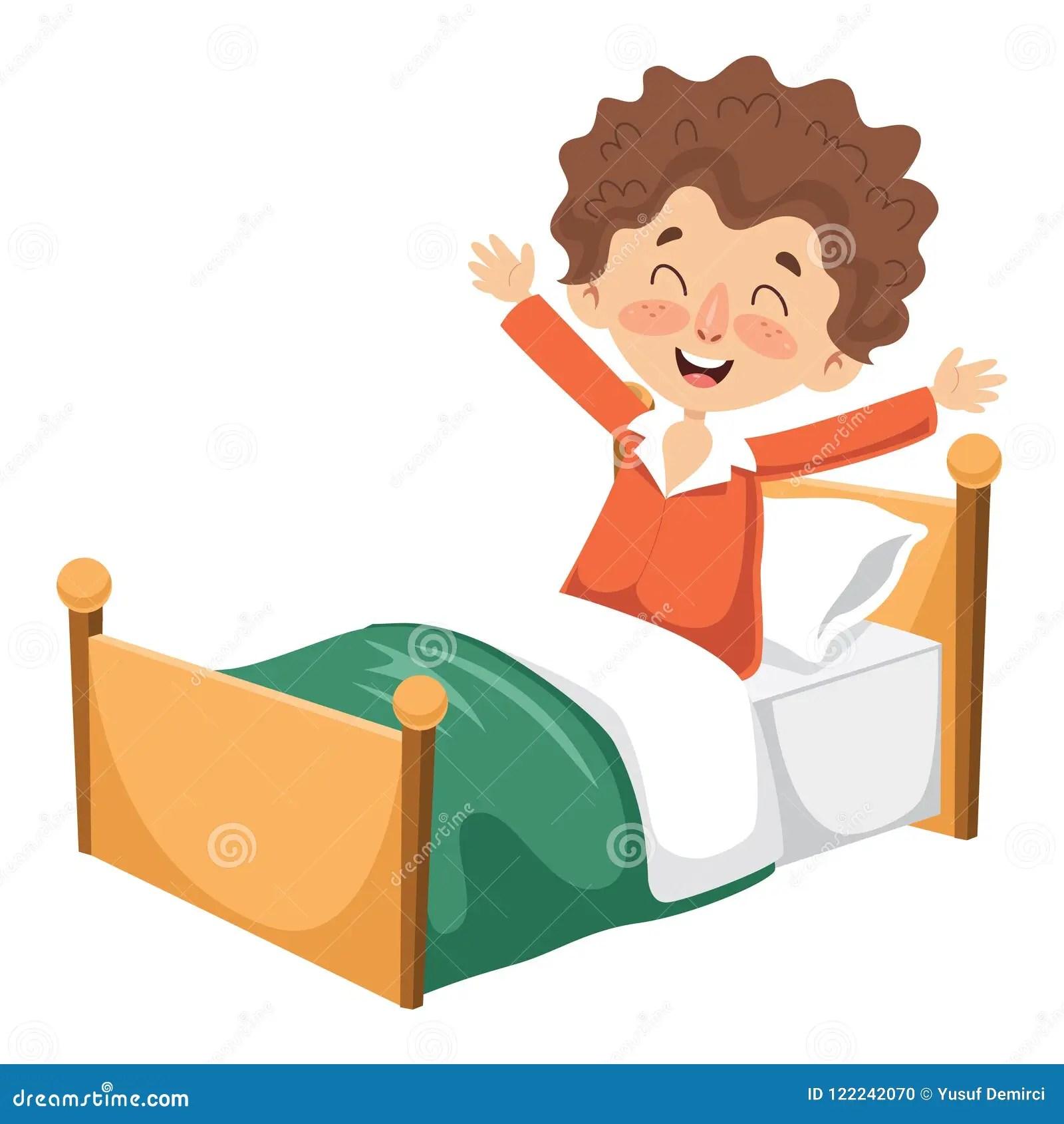 hight resolution of vector illustration of kid waking up