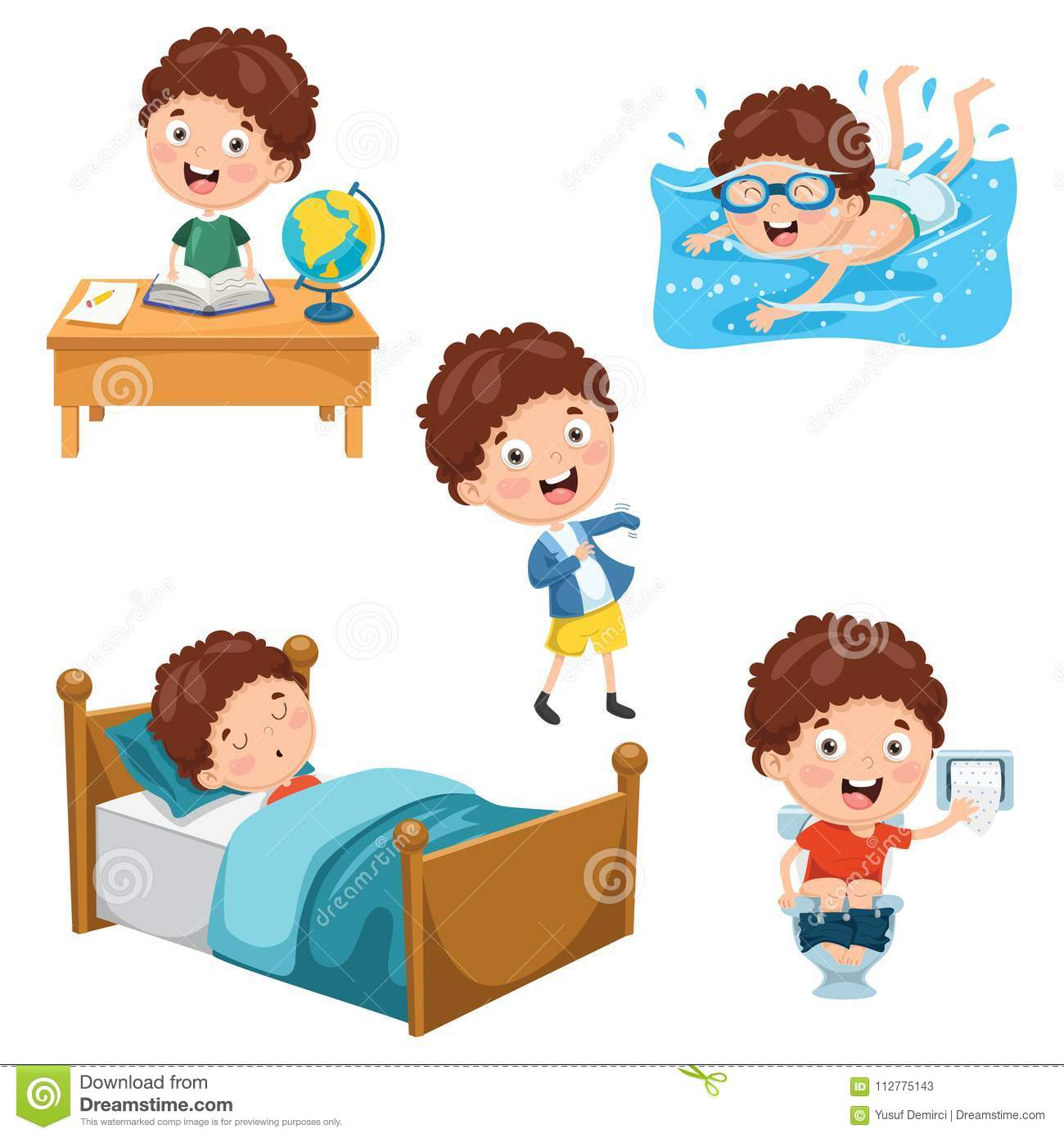 Vector Illustration Of Kids Daily Routine Activities Stock