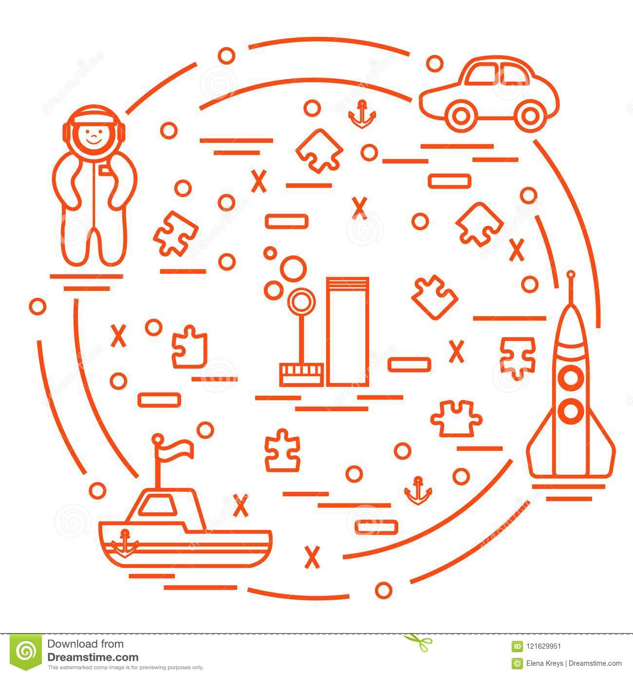 rocket ship diagram peripheral nerves labeled vector illustration kids toys objects astronaut car puzzles and other design element for postcard banner flyer or print