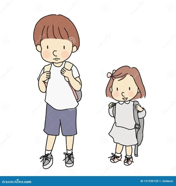 Vector Illustration Of Little Kids Carrying School