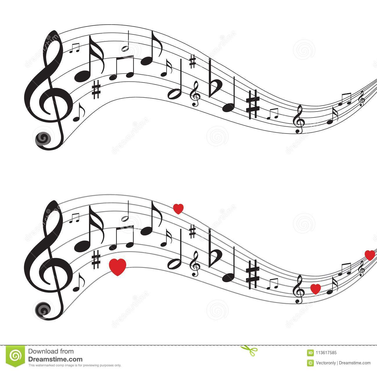 Music Notes, Musical Notes With Hearts Stock Vector